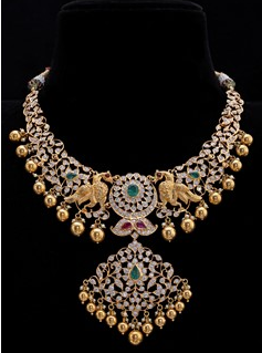 Diamond Stubbed Gold Twin Peacock Necklace