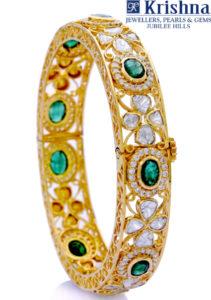 Gorgeous Bangles with Polki Diamonds and Emeralds