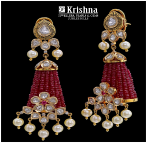 Gold with diamond ruby beads earrings