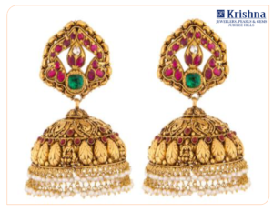 Traditional gold Jhumkas with diya style