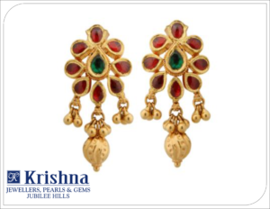 Gold chandbali earrings with rubies,emerald & golddrops