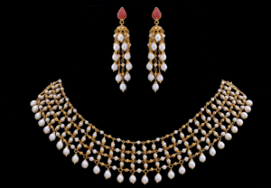 Ruby & pearl Mesh Necklace set