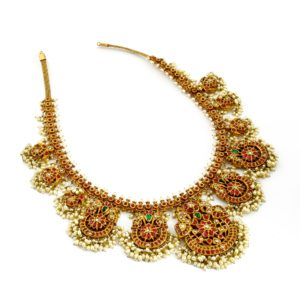 Ruby emerald with pearl gold Necklace