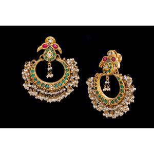 Ruby emerald gold earrings